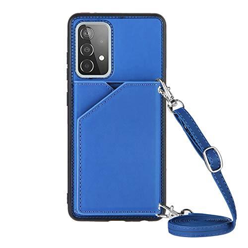 Funda para Samsung Galaxy A52 con Cuerda, Carcasa Cuero Premium PU Suave Case con Correa Colgante Ajustable Collar Correa de Cuello Cadena Cordón Ranuras para Tarjetas Anti-Choque Cover, Azul