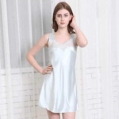 Pijamas de Seda de Hielo de Verano para Mujer Eslingas Sueltas de Gran tamaño Refrescante Pijamas Largos y Largos para el hogar Ropa de Mujer Pijamas Azul Claro XL
