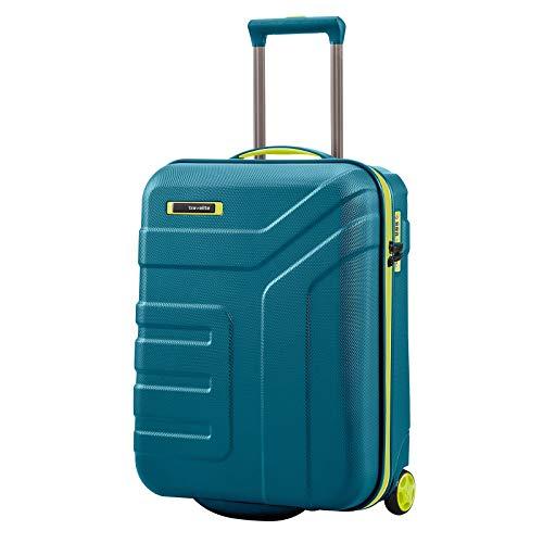 travelite Gepäck Serie Vector: Robuster Hartschalen Trolley in stylischen Farben, 2-Rad Handgepäck Koffer mit TSA Schloss erfüllt IATA Borgepäck Maß, 072007-22, 55 cm, 44 Liter, Petrol/Limone
