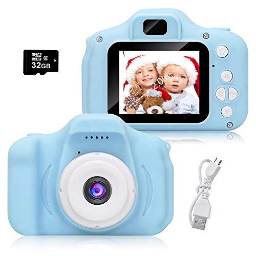 Cámara para Niños, Infantil Cámara de Fotos Digital con 32GB Tarjeta de Memoria, Videocámaras Juguetes, Niños y Niñas Cumpleaños Regalo