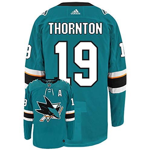 adidas Joe Thornton San Jose Sharks Authentic Home NHL Hockey Jersey Teal