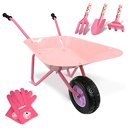Hortem Juego de 5 carretillas para niños, construcción de metal, barril de rueda para niños y herramientas de jardín para niños, guantes de jardinería para niños, regalos para niños (rosa)