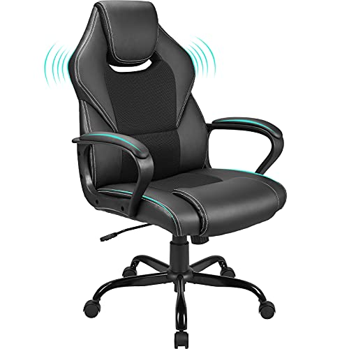 BASETBL Office Desk Chair Racing Style Home Ergonomic Executive Swivel Gaming Computer Chair, Lumbar Support High Back PU Leather Adjustable Height Comfortable Chair Black
