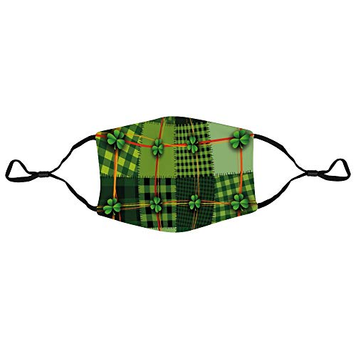 Roupaze Unisex Face Masks Irish Patchwork Style St. Patrick's Day Themed Celtic Quilt Cultural Checkered with Clovers Multicolor Windproof Face Mouth Cover Balaclavas for Adult 1 PCS