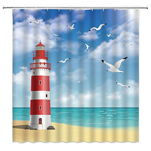 Lighthouse Shower Curtain Ocean Beach Seagull Blue Sky White Clouds Simple Blue Red White Bathroom Curtains Decor Polyester Fabric Quick Drying 70X70 Inches Include Hooks …