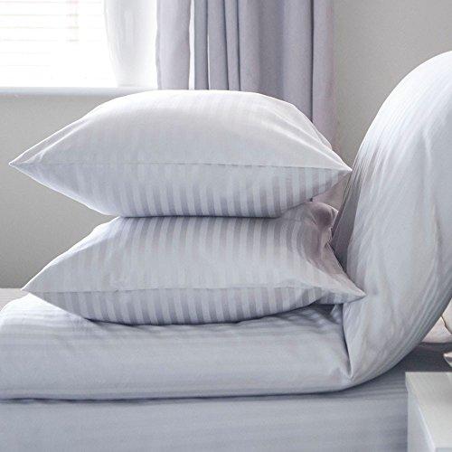 Belledorm 540 Fils 100% Coton égyptien satiné à Rayures Continental Taie d'oreiller carrée en Platine Gris 65 cm x 65 cm
