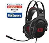 Lioncast LX60 USB Gaming Headset für PC, PS4, Xbox One, Nintendo Switch, Mac, Laptop, Smartphone, Stereo und 7.1 Virtual Surround Sound, RGB-LED-Beleuchtung, geschlossene Over-Ear Kopfhörer, MUTE-LED