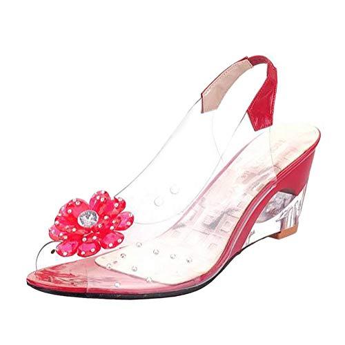 Minetom Sandalias Mujer Cuña Verano Plataforma Punta Abierta Flor Zapatos De Tacón...