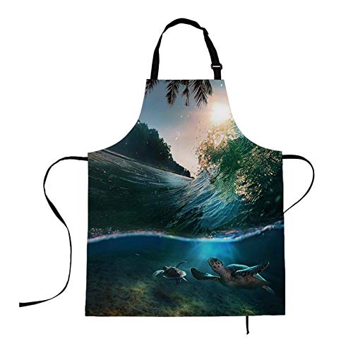 HOSNYE Aprons Tropical Ocean Apron Hawaii Ocean Tropical Paradise with Sunlight Surfing Wave Breaking Kitchen Bib with Adjustable Neck for Cooking Gardening,Adult Size