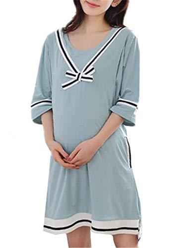 Embarazadas Mujer Verano Medias Mangas Ropa Premama V-Cuello Camisones Elegantes Modernas Casual Fashion Anchas Casuales Cómodo Vestido Premama Camisón Vestido (Color : Dark Green, Size : M)
