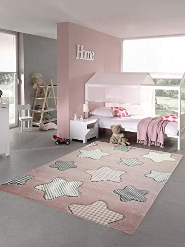 Teppich-Traum Kinderteppich Sterne Kinderzimmerteppich Mädchen in rosa Creme grau Größe 80x150 cm