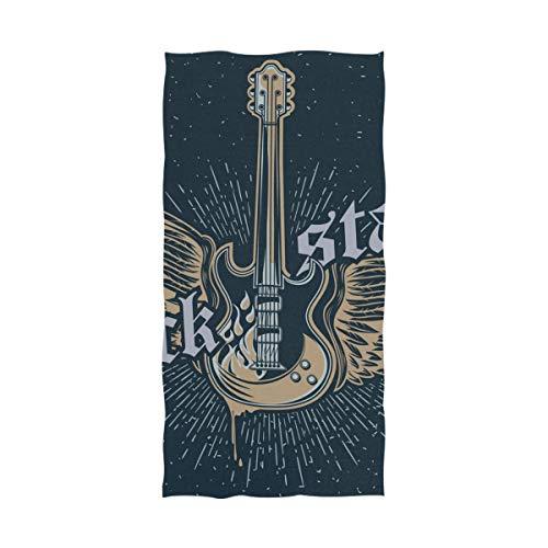 Ahomy Toallas de Playa Rock Star Guitarra Ultra Suave, Super Absorbente Toalla de baño para Hombres Mujeres niños, Grande 81 x 162 cm