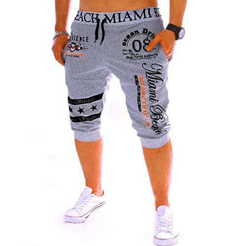 Pantalones Cortos Hombre Verano 2019 Nuevo SHOBDW Casual Impresión de Letras Pantalones Hombre Chandal Cordón Elástico Pantalones Cortos Hombre Deporte con Bolsillos Tallas Grandes(Gris,XXL)