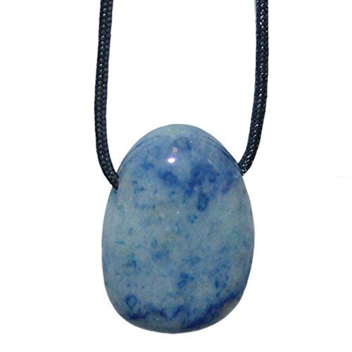 Blauquarz und viele andere Steinsorten flache Edelsteine/Trommelsteine Anhänger gebohrt