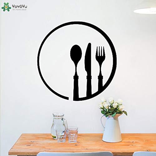 zhuziji Tatuajes de Pared Cuchillo Tenedor Cuchara Patrón Pegatinas de Pared Cafe Restaurant Logo Cocina Arte de Vinilo Decoración Moderna Creativa Mur 57x57cm