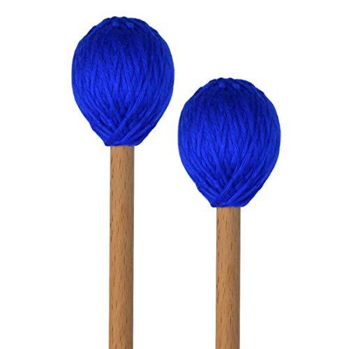 Yolyoo Medium Hard Yarn Head Keyboard Marimba Mallets with Maple Handles,Pack of 2 Blue (Blue)