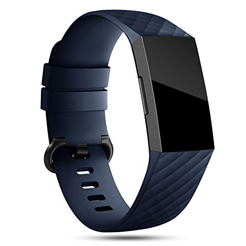 Onedream Correa Compatible para Fitbit Charge 3 Strap/Charge 4 Correa Mujer Hombre Pulsera Recambio Sport Band Azul (sin Reloj),L