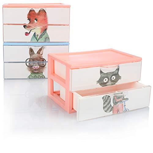 COM-FOUR® 3x ladebox, plastic opbergdoos voor kinderspeelgoed, handwerk, make-up, pennen - praktische sorteerbox [selectie varieert] (03x dozen 2 compartimenten 22x15x13)