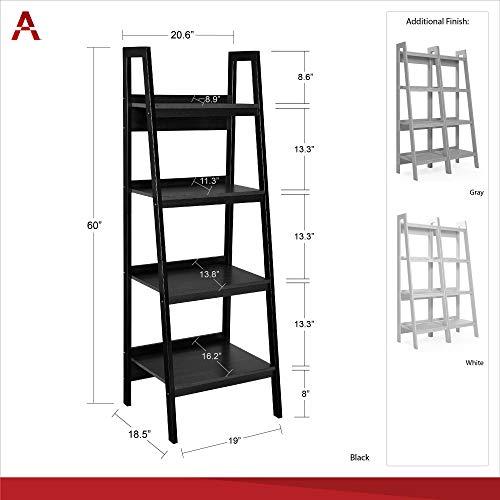 Ameriwood Home Lawrence 4 Shelf Ladder Bookcase Bundle, Dove Gray