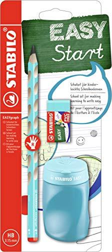 Schul-Set für Rechtshänder - STABILO EASYgraph in blau - inklusive Spitzer + Radierer