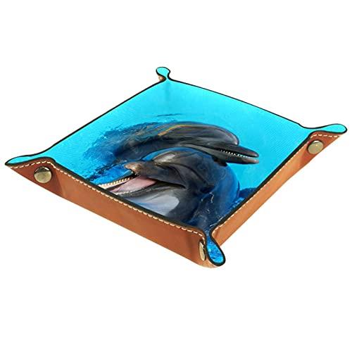 Bandeja de dados plegable para dados, bandeja cuadrada para dados, soporte de cuero sintético, para juegos de dados, como RPG, DND y otros juegos de mesa, café bajo el agua delfines animales
