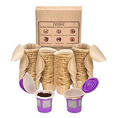 Unbleached Paper Filters for Reusable Coffee Pods - Biodegradable Paper coffee filters with Lid Fits All Brands (300/Box) Compatible with all Reusable Pods by Delibru