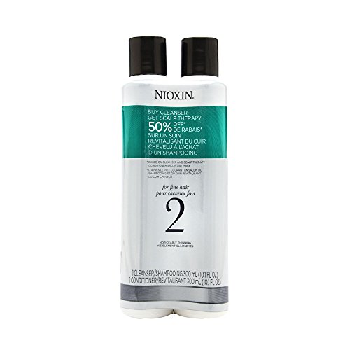 Nioxin System 2 Cleanser & Scalp Therapy for Fine Thinning Hair Duo Set 10oz 300ml