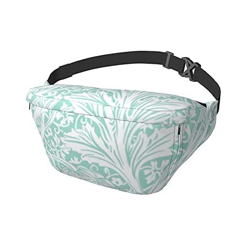 Sport Brusttasche Messenger Bag Arcadia White on Mint William MorrisBauchtasche Große Kapazität für Damen und Herren Outdoor Aktivitäten