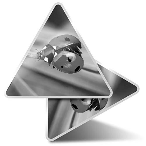 2 pegatinas triangulares de 7,5 cm – BW – Pretty Ladybug Mariquita Insecto Fun Calcomanías para portátiles, tabletas, equipaje, reserva de chatarra, neveras #36241