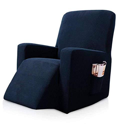Sofá reclinable Funda de sofá Toalla extraíble Lavable Sofá reclinable Cojín Fundas Perro Gato Mascotas Estera de un Solo Asiento-Azul Marino