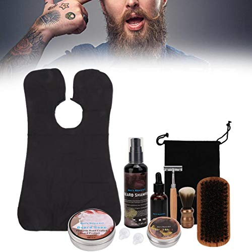 11 Pcs Men Beard Care Kit, Beard Care Kit for Men, Beard Cream Oil Brush Shaving Foam Soap with Apron Cloth Shaver Mustache Care Set for Travel Use