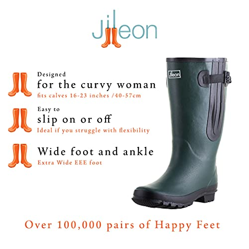"""Jileon Extra Wide Calf Women Rain Boots 