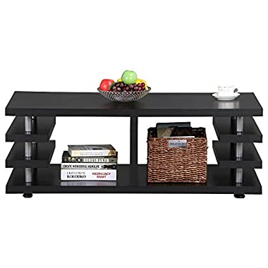 Yaheetech Modern Black Wood Coffee Table Multi Tier Design with Storage Shelf Living Room Furniture
