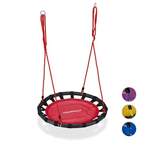 Relaxdays Nest, Round Hanging Swing for Children, Height-Adjustable, Ø: 80 cm, For up to 100 kg, Red, steel