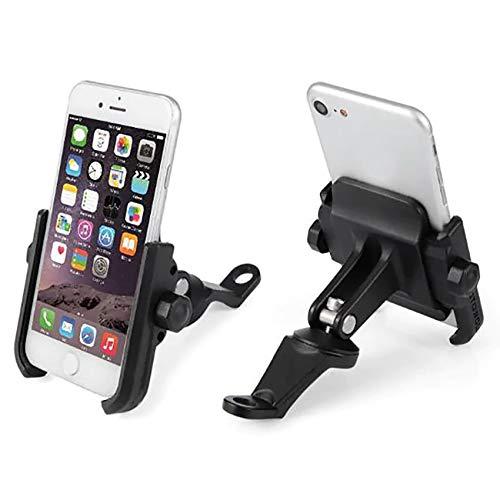 KASER Soporte Smartphone Universal Moto Espejo Retrovisor Rotación de Aluminio para Motociclo Ciclomotor Scooter para Móvil Navegador GPS (Espejo Negro)