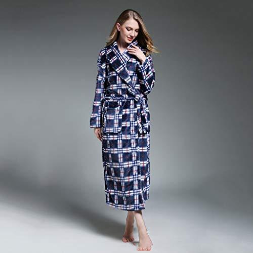 SCDZS Albornoz de invierno con capucha extra larga de franela gruesa para mujer, bata de baño cálida para dama de honor (tamaño: grande)