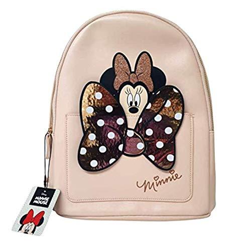 Disney Moda para Mujer Mochila Minnie Mouse Bolso de Hombro para Mujer Primak - Peach-Minnie con Lazo, M