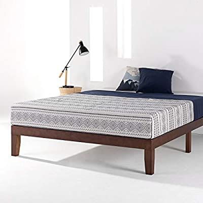 """Mellow 12"""" Classic Solid Wood Platform Bed Frame with Wooden Slats"""