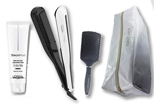 L'Oréal Professionnel Steampod 3.0 - Plancha alisadora + crema para cabello grueso 150 ml + estuche de almacenamiento + cepillo