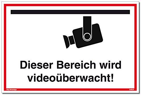 Schild Videoüberwachung | Dieser Bereich Wird videoüberwacht! | stabiles Alu Schild mit UV-Schutz 30 x 20 cm | weiß | Kameraüberwacht videoüberwacht | Dreifke®