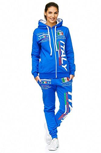 Violento Damen Sportanzug Jogginganzug Italien 100% Baumwolle (M=Fällt Groß aus, Blau)