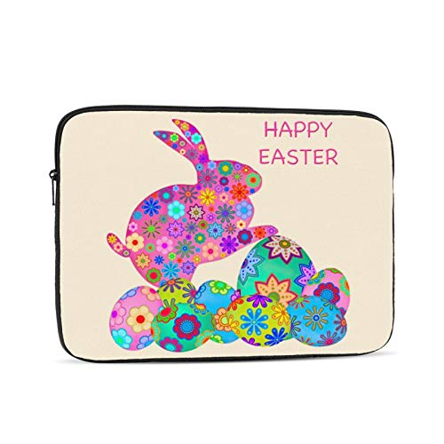 Colorful Easter Bunny Laptop Sleeve Bag Compatible with MacBook Pro, MacBook Air, Notebook Computer, Tablet, Water Resistant Durable Unisex Portable Laptop Case