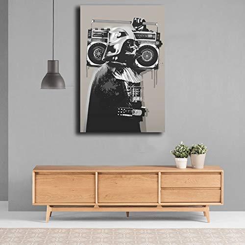 wojinbao Kein Rahmen Banksy Graffiti Darth VaderCanvas ng Drucken Wohnzimmer Wohnkultur Moderne Wandkunst Öl ng Poster Rahmen 40x60 cm