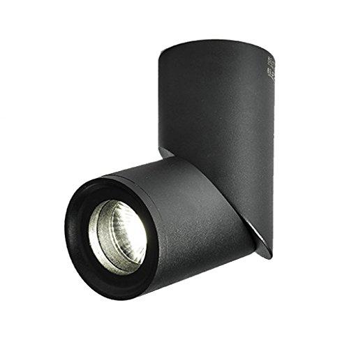 LED 10W Nordic Minimalist Full Aluminium Runde einstellbare Winkel Acryl Decke Downlight Gang Korridor Wand Strahler (schwarz, weiß) XYJGWXDD (Color : Black)