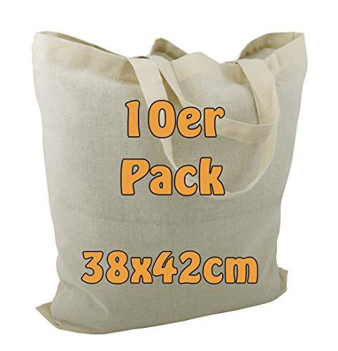 Cottonbagjoe Baumwolltasche Jutebeutel Baumwolltaschen mit Zwei kurzen Henkeln 38x42cm Öko-Tex 100 Standard Zertifiziert (Natur, 10 Stück)