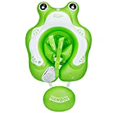 Inflatable Baby Swimming Float Ring - Baby Inflatable Pool Floatie Baby Water Float Infant Swim Pool Rings with Safe Bottom Support & Swim Buoy Float for Toddler Kid Age 3-30 Months Frog Floaty Large