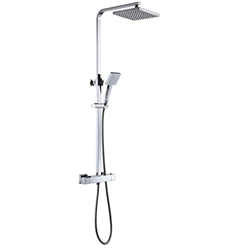 "MICOE Bathroom Shower Mixer Set Thermostatic Valve with Square 8"" Shower Head and Hand Held Shower A10326-1D"