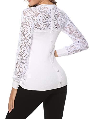 Hawiton Damen Pullover Rundhalspullover mit Spitze und Zierknöpfen Elegant Spitzenpullover Langarmtops, Weiß, S