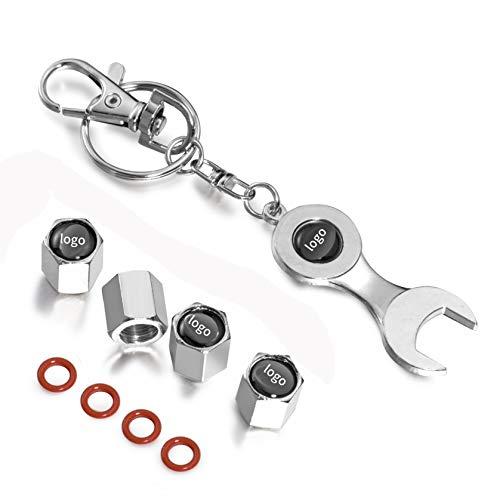 F.S 4 Piezas Rueda neumático válvula con Logo, Tapas para válvulas de neumáticos, Incluye Llavero con Herramienta (Plata, S-Koda)