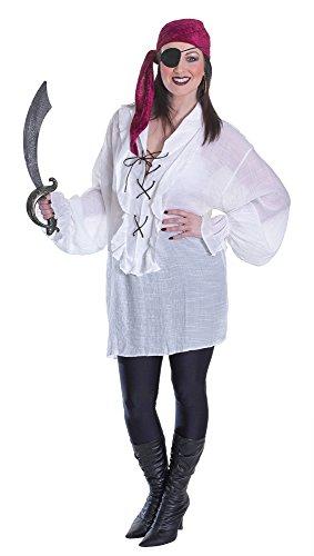 Bristol Novelty Ac670 Chemise de Pirate pour Femme, Blanc, Size 10-14